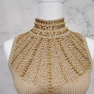 Cache Lurex Silk Blend Beaded Sweater Blouse